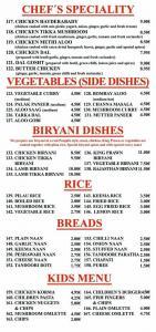 Rajasthan Indian Restaurant Menu